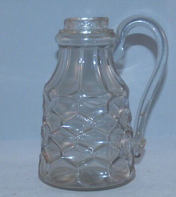 Antique Flint Eapg Glass Honeycomb Pattern Glass Molasses Syrup Pitcher Jug