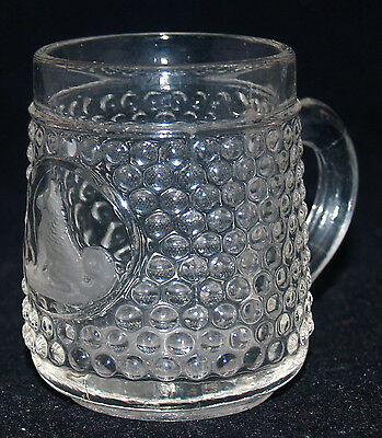 Victorian Antique Eapg Pattern Glass Childs Mug Cup Thousand Eye Frosted Dog