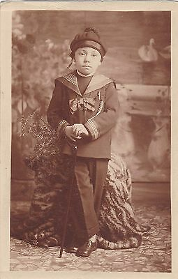 Antique RP Postcard - Studio Photo Of Identified Young Boy In Sailor Suit, Cane