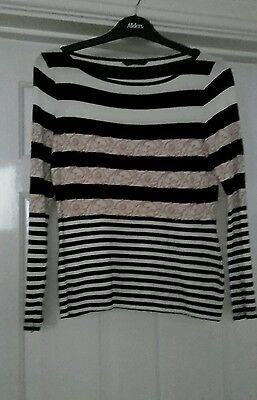 M & S long sleeved striped top size 10