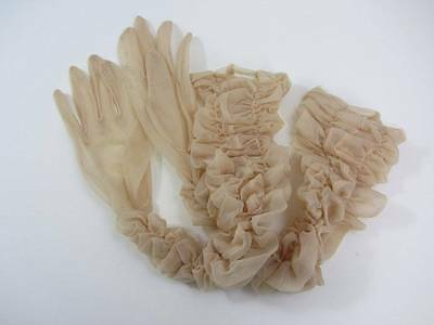 Vintage evening gloves ruched over the elbow sheer chiffon beige