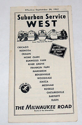Vintage Railroad Timetable Chicago Milwaukee St Paul & Pacific Suburban West