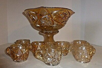 Vintage Glass Marigold Carnival Punch Bowl With Base & Seven Cups