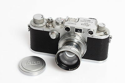 Leitz / Leica IIIc Chrome Red Shutter w. Summitar 2/5cm #555279