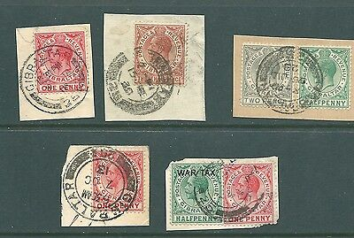 GIBRALTAR stamp collection on pieces with postmarks - George V