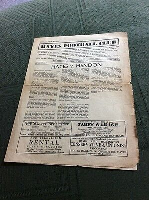 Vintage Football Programme Hayes v Hendon, 29 August 1956