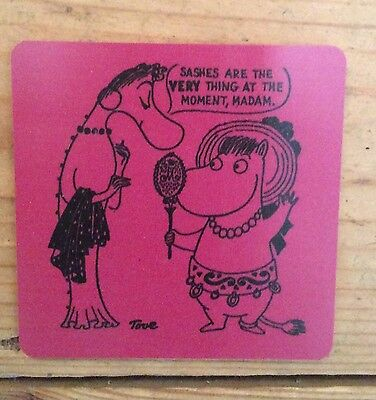 The Moomins Tove Jansson 100 anniversary birchwood pink promotional coaster, new