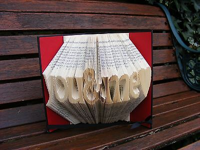 Folded book Art . Handmade gift, with 'you & me ' folded into pages. Anniversary