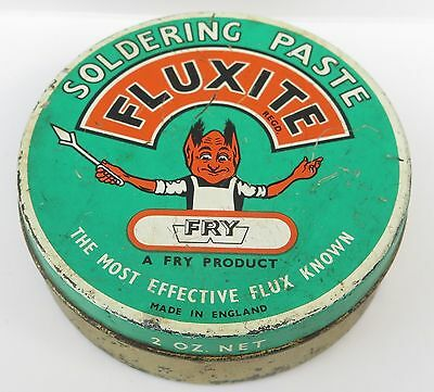 Old Fluxite Soldering Paste Tin, with contents.