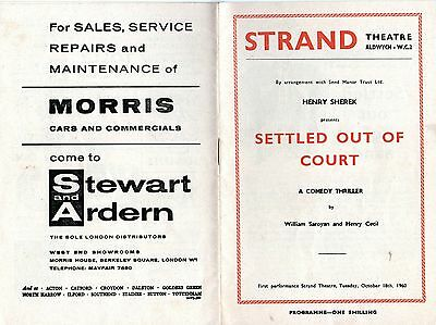 Theatre Programme - Strand Theatre Settled Out Of Court (1960)