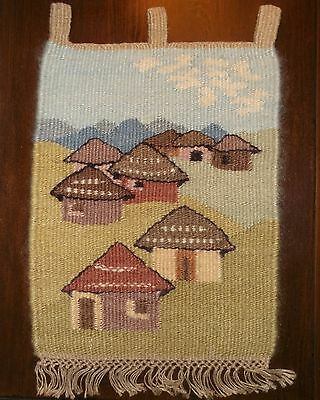 """VTG Mohair Tapestry Huts of Ramabanta by Artist Manstap Lesotho 13 x 17"""" African"""