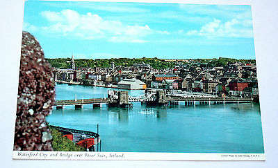 John Hinde postcard. Waterford City and Bridge over river Suir, Ireland