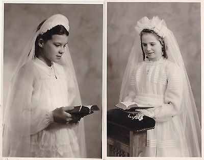Two Vintage RPPC - Young Girls In Communion Dresses - Religious, Veil, Bible