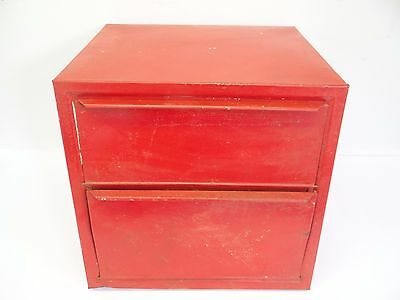 Vintage Used Red Bread Box Breadbox 2 Drawer Cabinet Storage Container Old
