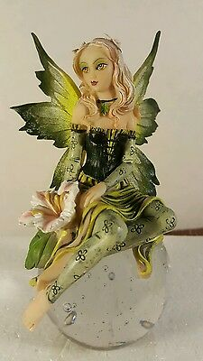 """6.75""""h Faery Forest Fairy Sitting on Crystal Ball Figurine Statue"""