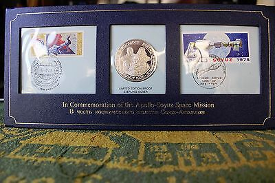 Limited Edition Proof Sterling Silver 1975 Apollo-Soyuz Space Mission+Stamp Set