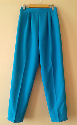 80s vintage blue checked viscose blend tapered trousers 14 new wave geek