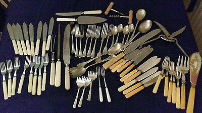VINTAGE Antique JOB LOT Of 62pcs ASSORTED SILVER PLATE Nickel Plate CUTLERY