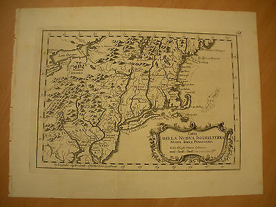 c. 1763 FRENCH & INDIAN WAR MAP OF PENNSYLVANIA THROUGH MAINE GREAT LAKES vafo