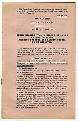 Air Ministry Notice to Airmen No 28 1935 Communication Aircraft to Ships Amended