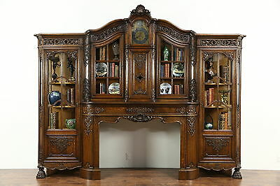 Carved Oak Antique Architectural Salvage Fireplace Mantel, Clock & Bookcase