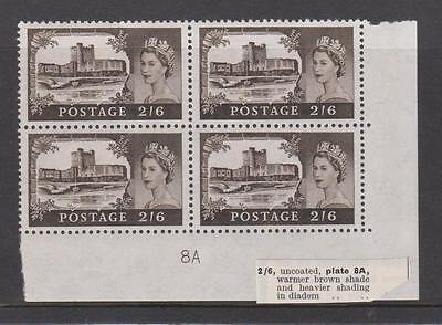1959-68 Castles high value. SG595a. Block x 4 with plate block No. MNH.