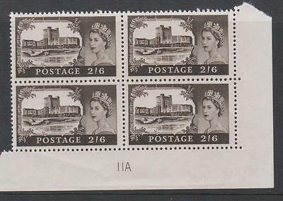1967-68 Castles high value. SG759. Block x 4 with plate block No. MNH. No11A