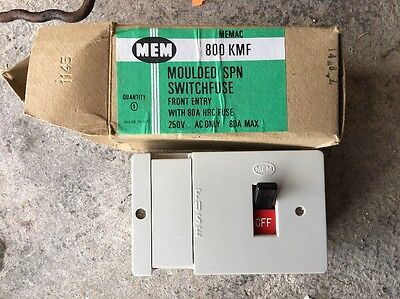 MEM 809 KMF Moulded SPN Switch Fuse Front Entry  80 A SWITCH NEW Boxed