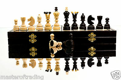 Superb DIAMONDS - Hand Crafted 42cm / 16.5in LARGE Wooden Chess Set