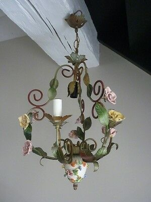 Vintage French Painted Toleware And Porcelain Flowers Chandelier 4 Lights
