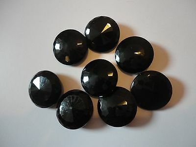 vintage black glass buttons  x 8