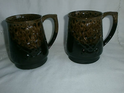Large Pottery Mugs x 2  - Thistle Design - Fosters Pottery Style -1 pint