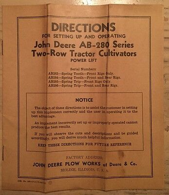 Vintage John Deere AB-280 Series Two-Row Tractor Cultivators Operating Manual