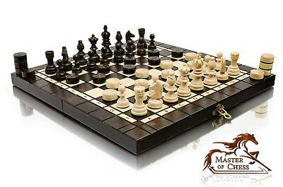 """SUPERB """"OLYMPIC"""" TOURNAMENT WOODEN CHESS & DRAUGHTS SET 35 x 35cm!"""
