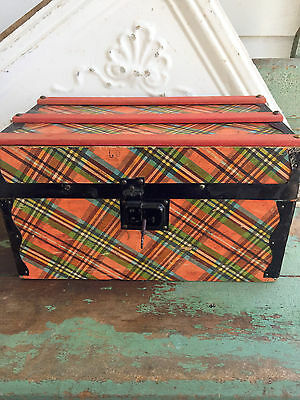 Antique Doll Trunk Storage Old Plaid Paper with original Key working lock