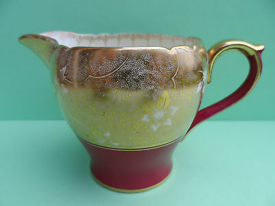 """Shelley """"Orchid"""" 12848/41 Henley shape cream jug (from a coffee set). C.1940."""
