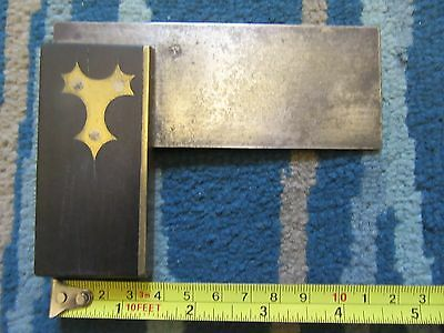 vintage wood and brass set sqaure for carpentry