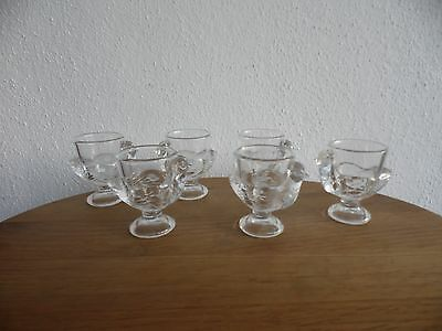 Luminarc vintage Little glass chicken egg cups, set of six, made in France