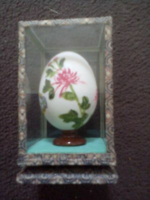 vintage Chinese painted egg in glass box
