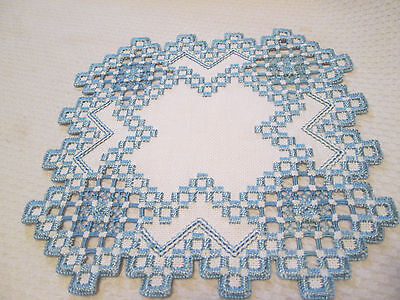Hardanger  Doily Norwegian Embroidery White with Blue-  Hand Made
