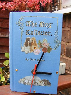 Upcycled book clock. Dog Collectors book clock. Shabby chic. Handmade