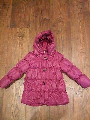 Kids age 3 4 years girls coat pink plum colour padded zip up angel hooded Winter