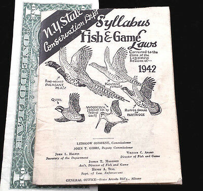 Hunting Fishing Trapping Book Ny State Syllabus Fish Game Laws 1942 New York Oop