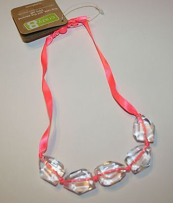 New Crazy 8's Large Clear Cut Crystal Beaded Necklace On Pink Ribbon NWT