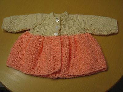 New Hand-Knitted Woolen Cream & Tangerine Baby Girl/Baby Girl's Jacket/Coat
