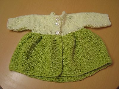 New Hand-Knitted Wool/Woolen Lime & Green Baby Girl/Baby Girl's Jacket/Coat