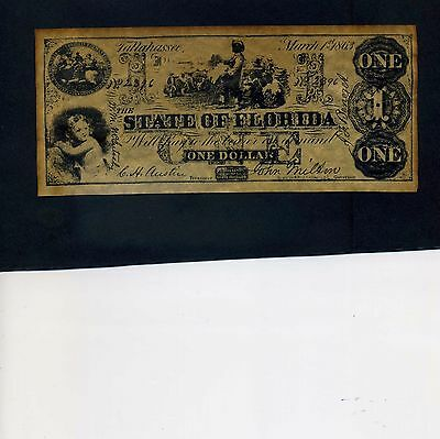 Reproduction State of Florida One Dollar Bill $1 Banknote 1863
