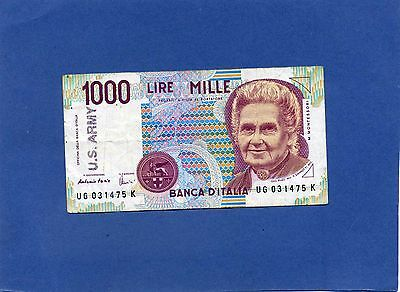 Italy Italian 1000 Lire Banknote 1990 overstamped US Army
