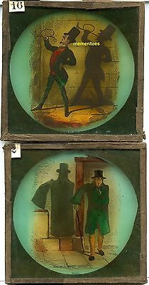 Magic Lantern Slides Shadow Puppets Comic Humour c1900 Coloured
