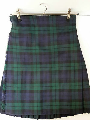"Ex Hire 30"" waist 25"" drop Black Watch  8 Yard Wool Kilt A1 Condition"